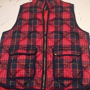 J. Crew plaid puffer vest large
